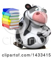 Clipart Of A 3d Chubby Cow Holding Books On A White Background Royalty Free Illustration