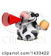 Clipart Of A 3d Chubby Cow Holding A Navel Orange On A White Background Royalty Free Illustration