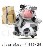 Clipart Of A 3d Chubby Cow Holding Boxes On A White Background Royalty Free Illustration