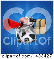 Clipart Of A 3d Chubby Cow Holding Boxes Royalty Free Illustration