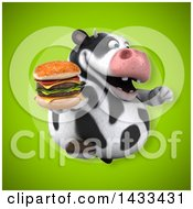 Clipart Of A 3d Chubby Cow Holding A Double Cheeseburger Royalty Free Illustration