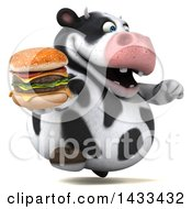 Clipart Of A 3d Chubby Cow Holding A Double Cheeseburger On A White Background Royalty Free Illustration
