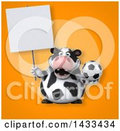Clipart Of A 3d Chubby Cow Royalty Free Illustration