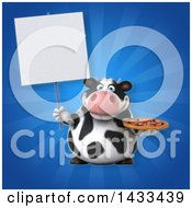 Clipart Of A 3d Chubby Cow Holding A Pizza Royalty Free Illustration
