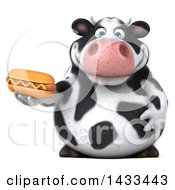 Clipart Of A 3d Chubby Cow On A White Background Royalty Free Illustration