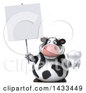 Clipart Of A 3d Chubby Cow Holding A Tooth On A White Background Royalty Free Illustration