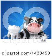 Clipart Of A 3d Chubby Cow Holding A Tooth Royalty Free Illustration