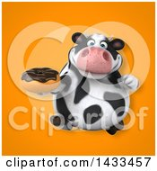 Clipart Of A 3d Chubby Cow Holding A Donut Royalty Free Illustration