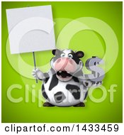 Clipart Of A 3d Chubby Cow Holding A USD Currency Symbol Royalty Free Illustration