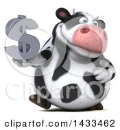 Clipart Of A 3d Chubby Cow Holding A USD Currency Symbol On A White Background Royalty Free Illustration