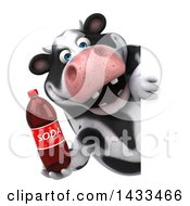 Clipart Of A 3d Chubby Cow Holding A Soda Bottle On A White Background Royalty Free Illustration