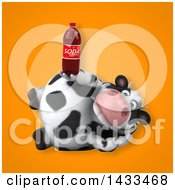 Clipart Of A 3d Chubby Cow Holding A Soda Bottle Royalty Free Illustration