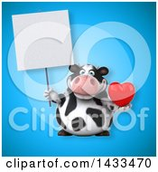 Poster, Art Print Of 3d Chubby Cow Holding A Love Heart