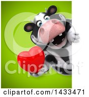 Clipart Of A 3d Chubby Cow Holding A Love Heart Royalty Free Illustration