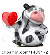 Poster, Art Print Of 3d Chubby Cow Holding A Love Heart On A White Background