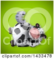 Clipart Of A 3d Chubby Cow Holding A Euro Currency Symbol Royalty Free Illustration