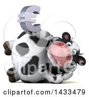 Clipart Of A 3d Chubby Cow Holding A Euro Currency Symbol On A White Background Royalty Free Illustration