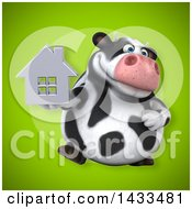 Clipart Of A 3d Chubby Cow Holding A House Royalty Free Illustration