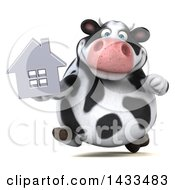 Clipart Of A 3d Chubby Cow Holding A House On A White Background Royalty Free Illustration