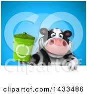 Clipart Of A 3d Chubby Cow Holding A Recycle Bin Royalty Free Illustration