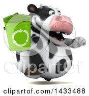 Clipart Of A 3d Chubby Cow Holding A Recycle Bin On A White Background Royalty Free Illustration