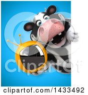 Clipart Of A 3d Chubby Cow Holding A Tv Royalty Free Illustration