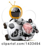 Clipart Of A 3d Chubby Cow Holding A Tv On A White Background Royalty Free Illustration