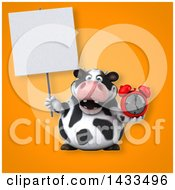 Clipart Of A 3d Chubby Cow Holding An Alarm Clock Royalty Free Illustration