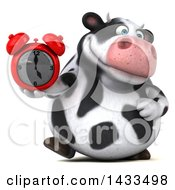 Clipart Of A 3d Chubby Cow Holding An Alarm Clock On A White Background Royalty Free Illustration