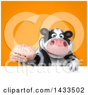 Clipart Of A 3d Chubby Cow Holding A Brain Royalty Free Illustration