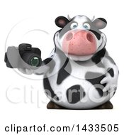 Clipart Of A 3d Chubby Cow Holding A Camera On A White Background Royalty Free Illustration