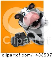Clipart Of A 3d Chubby Cow Holding A Camera Royalty Free Illustration