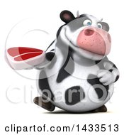 Clipart Of A 3d Chubby Cow Holding A Beef Steak On A White Background Royalty Free Illustration