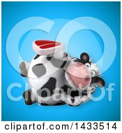 Clipart Of A 3d Chubby Cow Holding A Beef Steak Royalty Free Illustration