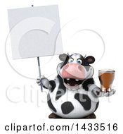 Clipart Of A 3d Chubby Cow Holding A Beer On A White Background Royalty Free Illustration