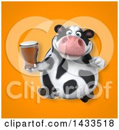 Clipart Of A 3d Chubby Cow Holding A Beer Royalty Free Illustration