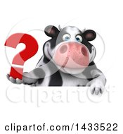 Clipart Of A 3d Chubby Cow Holding A Question Mark On A White Background Royalty Free Illustration