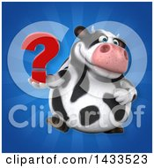 Clipart Of A 3d Chubby Cow Holding A Question Mark Royalty Free Illustration