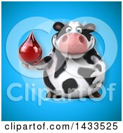 Clipart Of A 3d Chubby Cow Holding A Blood Or Hot Water Drop Royalty Free Illustration