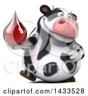 Clipart Of A 3d Chubby Cow Holding A Blood Or Hot Water Drop On A White Background Royalty Free Illustration