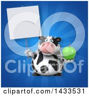 Clipart Of A 3d Chubby Cow Holding A Green Apple Royalty Free Illustration