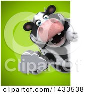 Clipart Of A 3d Chubby Cow Holding A Cloud Royalty Free Illustration