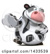 Clipart Of A 3d Chubby Cow Holding A Cloud On A White Background Royalty Free Illustration