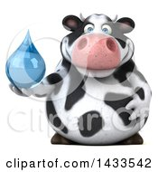 Clipart Of A 3d Chubby Cow Holding A Water Drop On A White Background Royalty Free Illustration