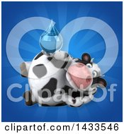 Clipart Of A 3d Chubby Cow Holding A Water Drop Royalty Free Illustration