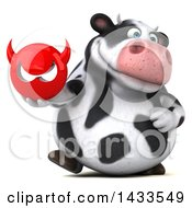 Clipart Of A 3d Chubby Cow Holding A Devil Head On A White Background Royalty Free Illustration