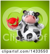 Clipart Of A 3d Chubby Cow Holding A Devil Head Royalty Free Illustration