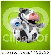 Clipart Of A 3d Chubby Cow Holding An Eyeball Royalty Free Illustration