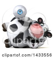 Clipart Of A 3d Chubby Cow Holding An Eyeball On A White Background Royalty Free Illustration