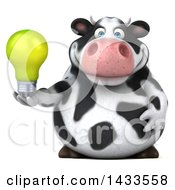 Clipart Of A 3d Chubby Cow Holding A Light Bulb On A White Background Royalty Free Illustration